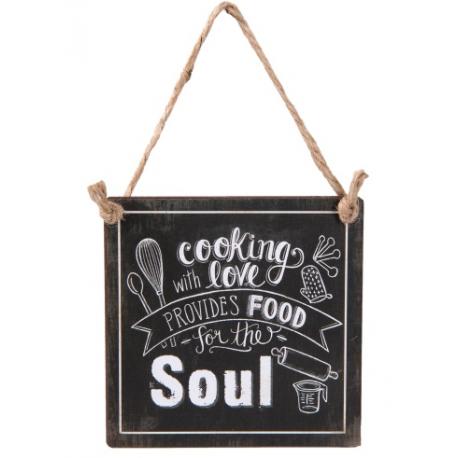 Fém fali tábla 10x10cm, Cooking-Love-food