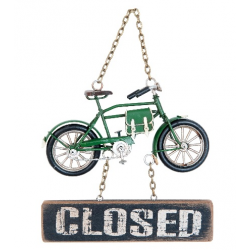 """Függesztős fém bicikli,fa táblával """"open/closed""""felirattal,16x3x20cm"""