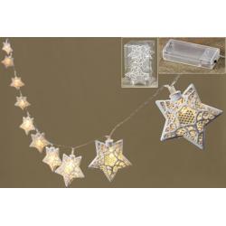 Led füzér fehér fém csillagokkal 140cm
