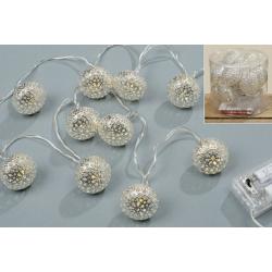 Led füzér fehér fém gömbökkel, 10 db-os, 140cm