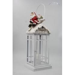 Fém lantern szánkózós télapó+hóember LED-es