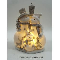Átvilágítós hóember család LED-es 17x10x23cm