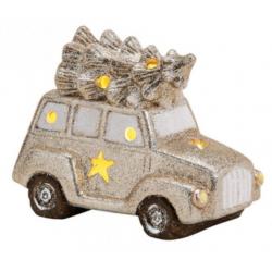Kerámia autó arany színű,LED világítással 16x12x9cm
