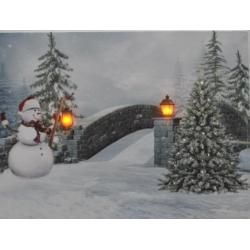 Világítós kép LED-es téli tájjal 40x30cm