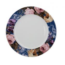 Porcelán lapostányér kék virágos -  Wild Apricity