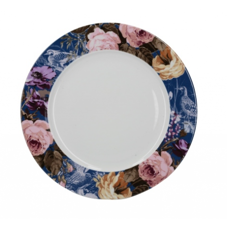 Kerámia lapostányér kék virágos - Wild Apricity
