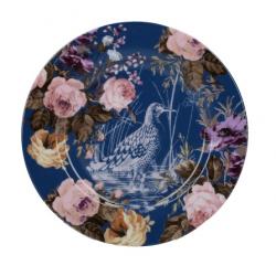 Porcelán desszerttányér kék virágos,madaras -  Wild Apricity