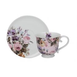Porcelán teáscsésze+alj - fehér, virágos -  Wild Apricity