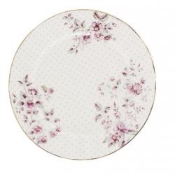 Porcelán desszerttányér fehér pöttyös, virágos -  Ditsy Floral