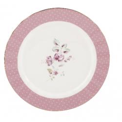 Porcelán desszerttányér fehér-pink, virágos -  Ditsy Floral