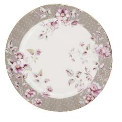 Porcelán desszerttányér fehér-szürke, pöttyös, virágos -  Ditsy Floral