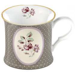 Porcelán bögre 2,3dl - szürke, pöttyös, virágos -  Ditsy Floral