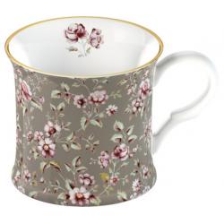 Porcelán bögre 2,3dl - szürke, virágos -  Ditsy Floral