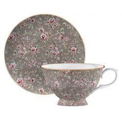 Porcelán teáscsésze+alj - szürke, virágos -  Ditsy Floral