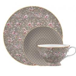 Porcelán teáscsésze+alj+desszerttányér - szürke, pöttyös, virágos -  Ditsy Floral