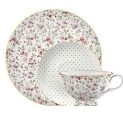 Porcelán teáscsésze+alj+desszerttányér - fehér, pöttyös, virágos -  Ditsy Floral