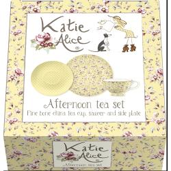 Porcelán teáscsésze+alj+desszerttányér - sárga, pöttyös, virágos -  Ditsy Floral