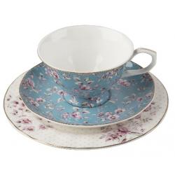 Porcelán teáscsésze+alj+desszerttányér - kék-fehér, virágos -  Ditsy Floral