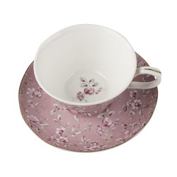 Porcelán teáscsésze+alj - pink, virágos -  Ditsy Floral