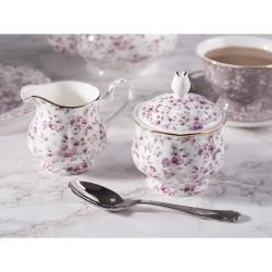 Porcelán cukortartó+tej/citromkiöntő dobozban - fehér, virágos -  Ditsy Floral
