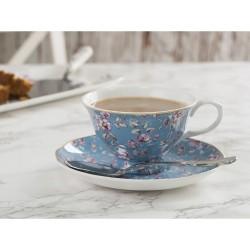 Porcelán teáscsésze+alj - kék, virágos -  Ditsy Floral