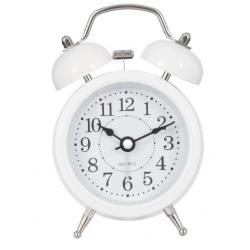 Ébresztő óra fém 8x5x12cm,Fehér színű