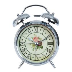 Ébresztő óra fém 8x5x12cm,ezüst, rózsás