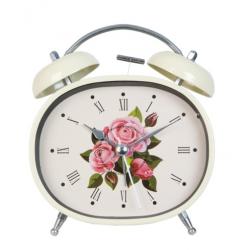 Ébresztő óra fém 12x6x13cm,krém, ovál rózsás
