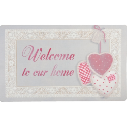 """Előszoba belépő szőnyeg  74x44cm, szíves, """" Welcome to our home"""""""