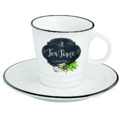 Porcelán teáscsésze + alj, 300ml, dobozban, Kitchen Basics