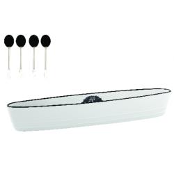 Porcelán kínálótál 4 db koktélnyárssal, dobozban, Kitchen Basics