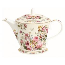 Porcelán Teáskanna dobozban, színes virágos, Blooming Opulence