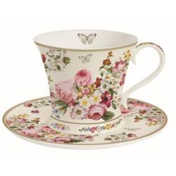 Porcelán teáscsésze aljjal, díszdobozban 180ml