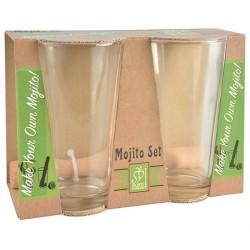 Mojito készítő szett( 2 db pohár+törőfa)