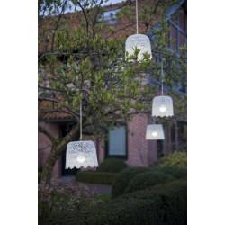 Műanyag, csipke mintás fehér mennyezeti lámpa