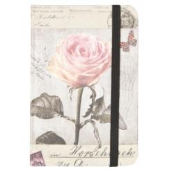 Jegyzetfüzet 9x12cm,barackszínű rózsás
