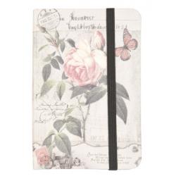 Jegyzetfüzet 9x12cm,barackszínű rózsás-lepkés