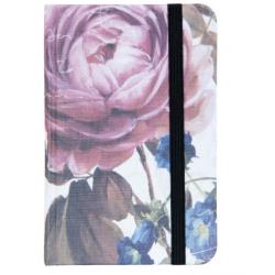 Jegyzetfüzet 9x14cm, rózsafej-kék harangvirággal