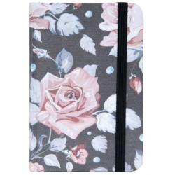 Jegyzetfüzet 9x14cm, rózsás-leveles