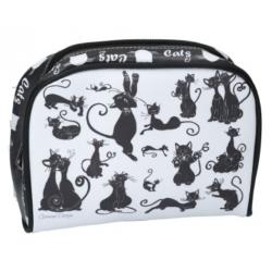 Kozmetikai táska 17x5x13cm,műbőr fekete macskás