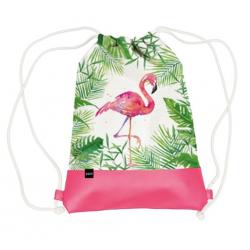 Vászon hátizsák mübőr aljjal 32x40cm, Tropical Flamingo