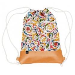 Vászon hátizsák mübőr aljjal 32x40cm, Tassotti Design