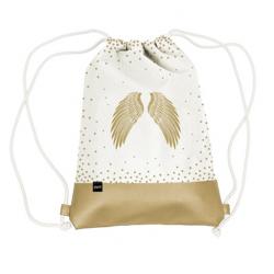 Vászon hátizsák mübőr aljjal 32x40cm, Holy Wings