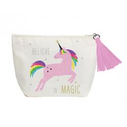 Vászon hátizsák mübőr aljjal 32x40cm, Pink Unikornis