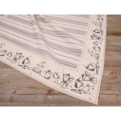 Asztalterítő 100x100cm, 100% pamut, csíkos, mintás bordür, Kaffee