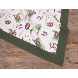 Asztalterítő 70x70cm, 100% pamut, telemintás, zöld bordür, Vitus