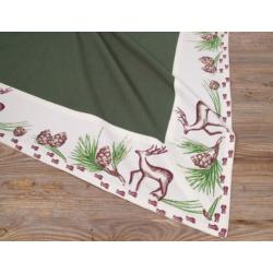 Asztalterítő 100x100cm, 100% pamut, zöld, mintás bordür, Vitus