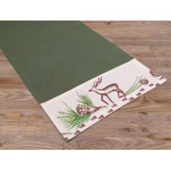 Asztali futó 40x150cm, 100% pamut, zöld, mintás bordür, Vitus