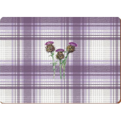 Parafa tányéralátét 4db-os 40x29cm, Lila kockás,virágos