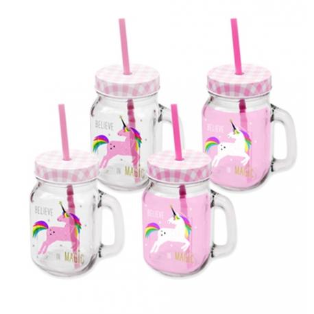 """Szívószálas """"befőttes"""" üveg szett 4db-os,04l,Pink Unicorn"""